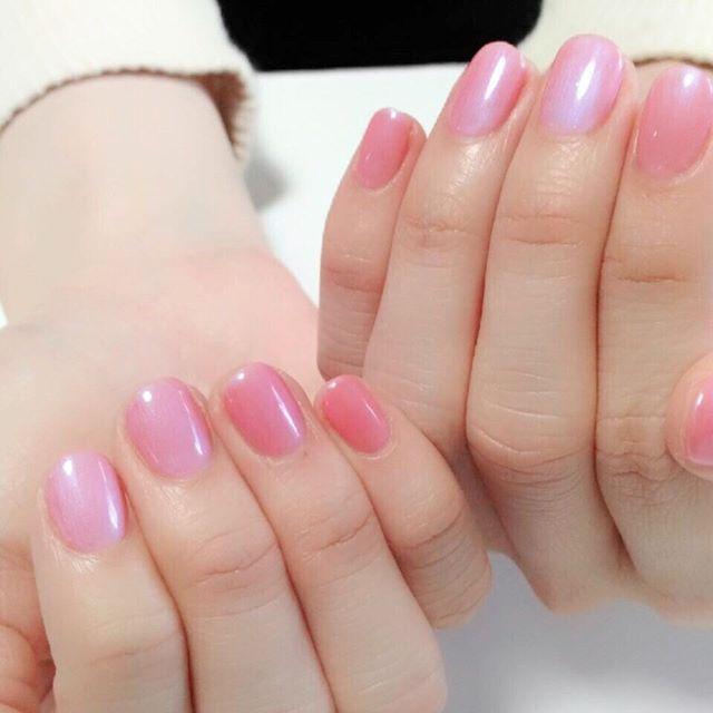 ☆new nail☆角度によって青みがかって見えるピンクです☆#ネイル #ピンクネイル #シンプルネイル #nail #nailstagram #pinknails #officenail
